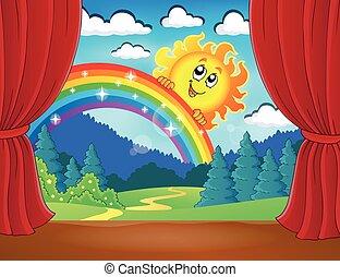 arcobaleno, palcoscenico, sole