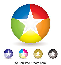arcobaleno, palla, icona