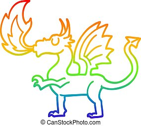 arcobaleno, pendenza, cartone animato, linea, drago, disegno, rosso