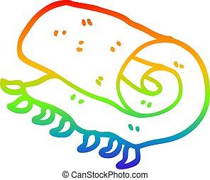 arcobaleno, pendenza, coperta, su, disegno, rotolato, linea,...