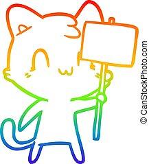 arcobaleno, pendenza, disegno, segno, vuoto, linea, gatto, cartone animato, felice