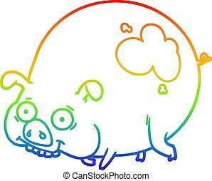 arcobaleno, pendenza, fangoso, maiale, rivestire disegno,...