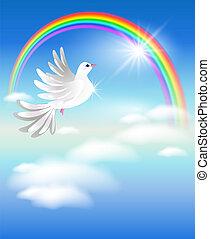 arcobaleno, piccione