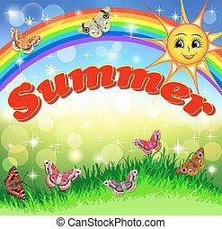 arcobaleno, prato, estate, sole, cielo, farfalle, illustrazione, luminoso, sorridente, cartone animato