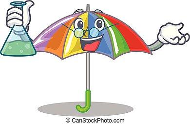 arcobaleno, professore, ombrello, isolato, mascotte