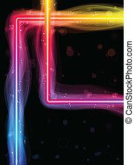 arcobaleno, quadrato, bordo, swirls., scintille