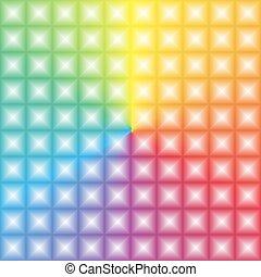 arcobaleno, quadrato, pendenza, effetto leggero, colorfoul, modello, illusione, 3d