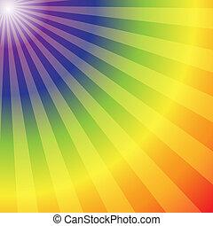 arcobaleno, radiale, raggi, astratto, fondo