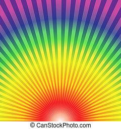 arcobaleno, radiale, raggi, fondo, su, astratto, fondo