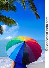arcobaleno, ragazza, ombrello