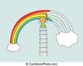 arcobaleno, ragazza, pittura