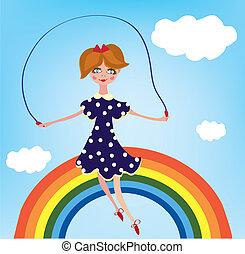 arcobaleno, ragazza, scheda, cihild