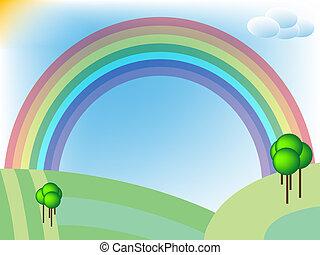 arcobaleno, retro, paesaggio, campi