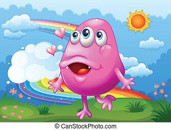 arcobaleno rosa, mostro, ballo, cielo, illustrazione, cima colle, felice