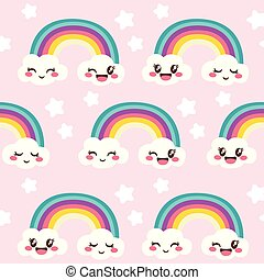arcobaleno rosa, nubi, felice