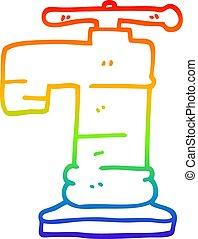 arcobaleno, rubinetto, oro, pendenza, placcato, disegno, linea, cartone animato