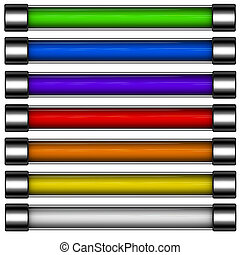 arcobaleno, sbarra, colorato, render, bottone, scaricare, 3d