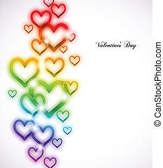 arcobaleno, scintille, vettore, white., cuore
