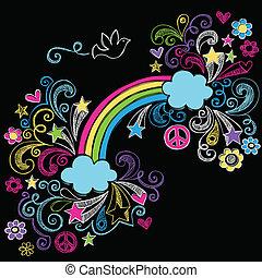 arcobaleno, scuola, set, sketchy, doodles