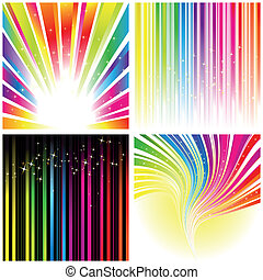 arcobaleno, set, colorare, astratto, striscia, fondo