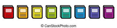 arcobaleno, set, colorato, icone, pictogram, libro