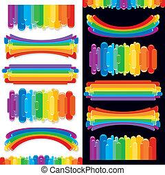 arcobaleno, set, elements., collezione, vettore, disegno