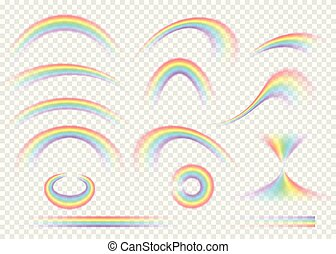 arcobaleno, set, fondo., isolato, pioggia, realistico, arco,...