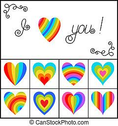 arcobaleno, set, isolato, fondo., luminoso, cuori, strisce, bianco
