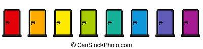 arcobaleno, set, porta, colorato, icone, pictogram