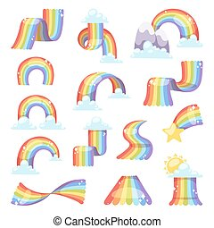 arcobaleno, set., vettore