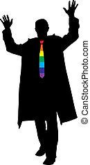 arcobaleno, silhouette, cravatta, affari, vettore, eccitato, uomo