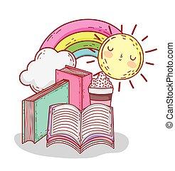 arcobaleno, smoothie, libri, sole, cartone animato