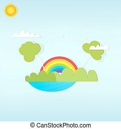arcobaleno, sopra, cartone animato, foresta