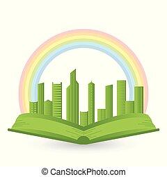 arcobaleno, sopra, libro, illustrazione, città