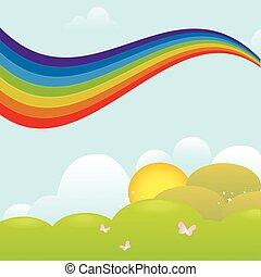 arcobaleno, sopra, prato