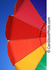 arcobaleno, spiaggia, ombrello