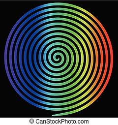 arcobaleno, spiral., astratto, ipnotico, vortice, rotondo
