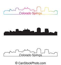 arcobaleno, stile, lineare, orizzonte, primavere, colorado