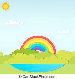 arcobaleno, strega, lago, paesaggio