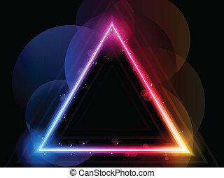 arcobaleno, triangolo, bordo, con, scintille, e, turbini