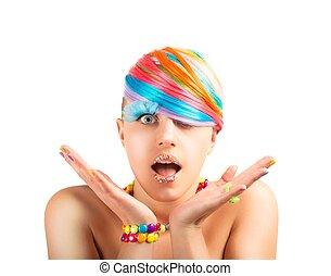 arcobaleno, trucco, moda, colorito