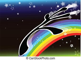 arcobaleno, uggia, uomo