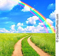arcobaleno, vecchio, strada, paesaggio, rurale