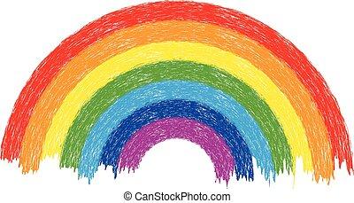arcobaleno, vettore, colorito, illustrazione