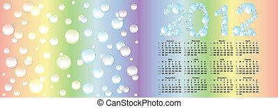 arcobaleno, vettore, fondo, calendario, bolla, 2012