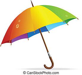 arcobaleno, vettore, ombrello, isolato