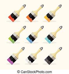 arcobaleno, vettore, set, spazzola