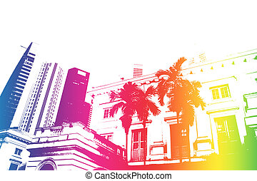 arcobaleno, vita, città, astratto, moderno, trendy
