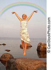 arcobaleno, volo, sotto