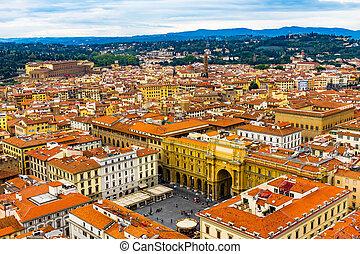 Arcone Triumphal Arch Piazza della Repubblica Cityscape Florence Italy